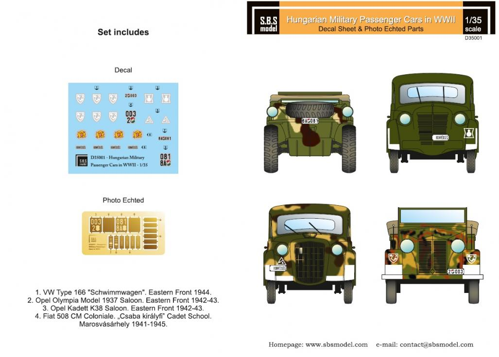 1/35 Hungarian Military Passenger cars in WWII - Decals + PE